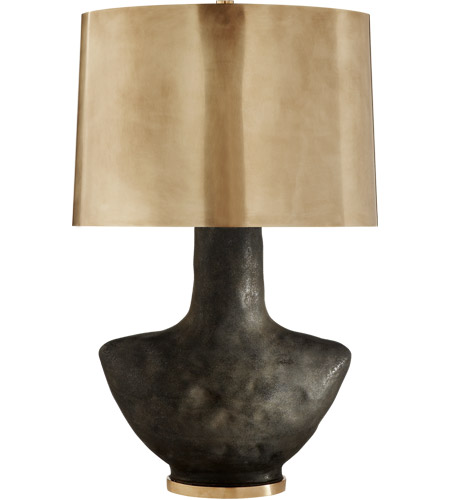 Visual Comfort KW3612SBM-AB Kelly Wearstler Armato 28 inch 75 watt Stained Black Metallic Porcelain Table Lamp Portable Light in Hand-Rubbed Antique Brass photo