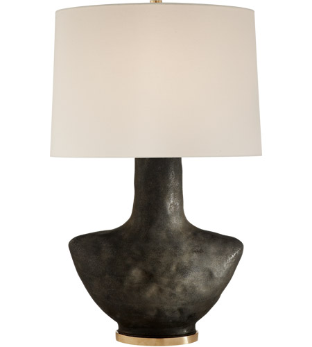Visual Comfort Kw3612sbm L Kelly Wearstler Armato 28 Inch 75 00 Watt Stained Black Metallic Porcelain Table Lamp Portable Light In Linen
