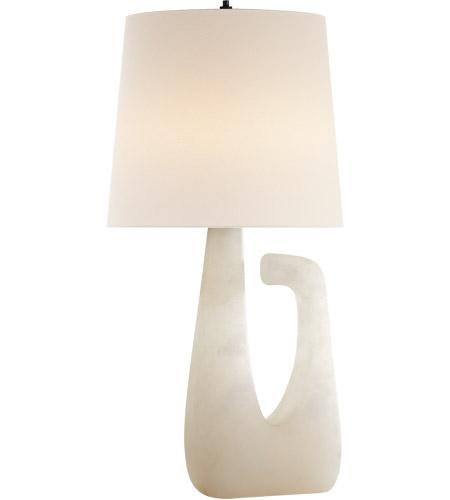 Visual Comfort KW3631ALB L Kelly Wearstler Brier 28 Inch 75 Watt Alabaster  Table Lamp Portable Light, Kelly Wearstler, Open Arm, Linen Shade