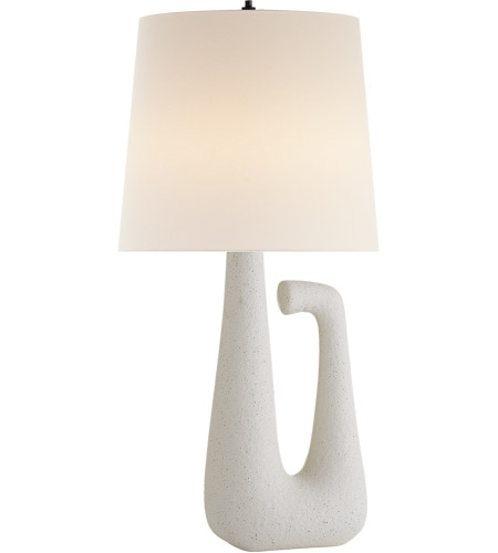 Visual Comfort KW3631VI L Kelly Wearstler Brier 28 Inch 75 Watt Volcanic Ivory  Table Lamp Portable Light, Kelly Wearstler, Open Arm, Linen Shade