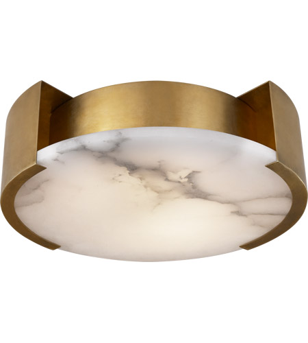 Visual Comfort Kw4012ab Kelly Wearstler Melange Led 14 Inch Antique Burnished Br Flush Mount Ceiling Light Small Lamp Alabaster Shade