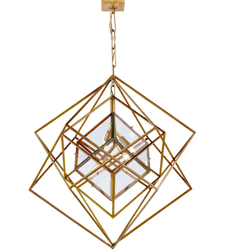 Visual Comfort KW5021G-CG Kelly Wearstler Cubist 4 Light 31 inch Gild Pendant Ceiling Light, Kelly Wearstler, Medium, Chandelier, Clear Glass photo