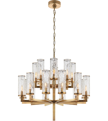 Visual Comfort KW5201AB-CRG Kelly Wearstler Liaison 20 Light 34 inch Antique-Burnished Brass Chandelier Ceiling Light, Kelly Wearstler, Double-Tier, Crackle Glass photo