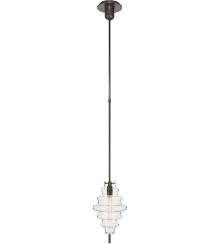 Visual Comfort KW5270BZ-CG Kelly Wearstler Tableau 1 Light 7 inch Bronze Pendant Ceiling Light in Clear Glass, Small photo