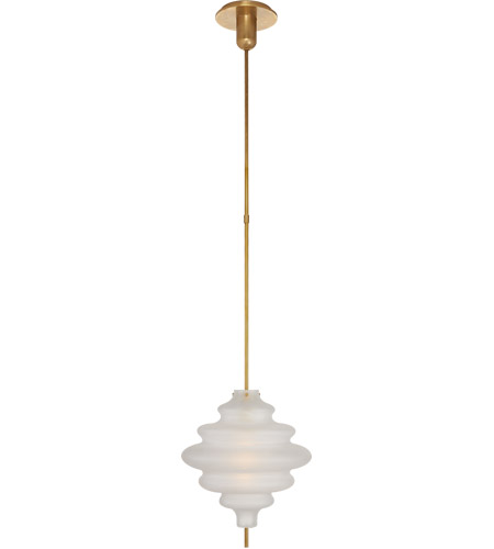Visual Comfort KW5275AB-VG Kelly Wearstler Tableau 1 Light 12 inch Antique-Burnished Brass Pendant Ceiling Light in Volcanic Glass, Medium photo