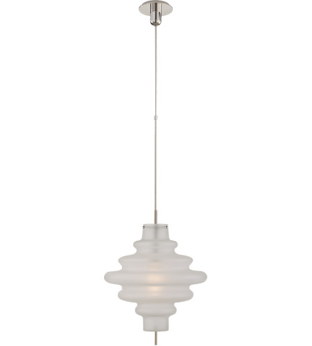 Visual Comfort KW5277PN-VG Kelly Wearstler Tableau 1 Light 18 inch Polished Nickel Pendant Ceiling Light in Volcanic Glass, Large photo