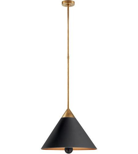 Visual Comfort KW5509AB/BLK-FA Kelly Wearstler Cleo LED 20 inch Antique-Burnished Brass Pendant Ceiling Light in Black photo