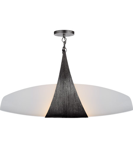 Visual Comfort KW5553AI-WG Kelly Wearstler Utopia 2 Light 28 inch Aged Iron Linear Pendant Ceiling Light, Kelly Wearstler, Small, Banded, White Glass photo