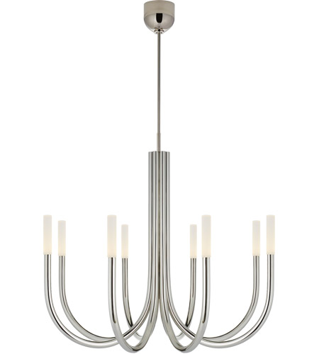 Visual Comfort KW5581PN-EC Kelly Wearstler Rousseau LED 39 inch Polished Nickel Chandelier Ceiling Light in Etched Crystal, Medium photo