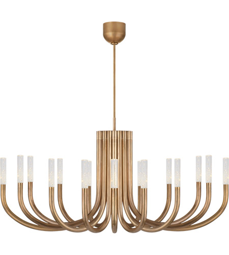Visual Comfort KW5585AB-SG Kelly Wearstler Rousseau LED 50 inch Antique-Burnished Brass Chandelier Ceiling Light in Seeded Glass, Large photo