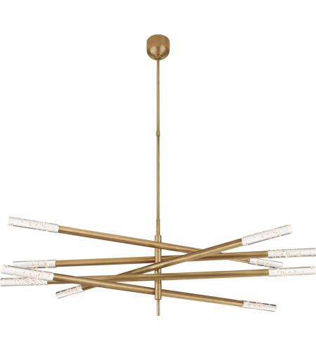 Visual Comfort KW5587AB-SG Kelly Wearstler Rousseau LED 50 inch Antique-Burnished Brass Articulating Chandelier Ceiling Light in Seeded Glass, Grande photo