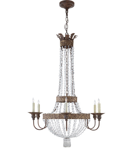 Visual comfort nw5015agp niermann weeks lyon 6 light 28 inch antique gild and polychrome chandelier ceiling