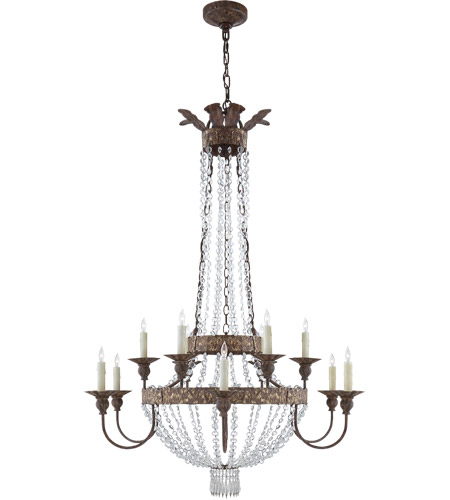 Visual Comfort NW5016AGP-CG Niermann Weeks Lyon 12 Light 40 inch Antique Gild and Polychrome Chandelier Ceiling Light, Niermann Weeks, Large, Clear Crystal photo