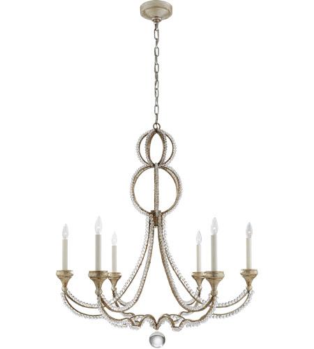 Visual comfort nw5031vs niermann weeks milan 6 light 38 inch venetian silver chandelier ceiling light niermann weeks large clear crystal