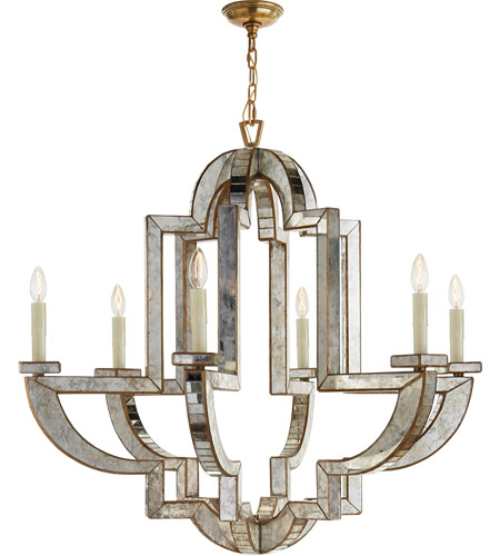 Visual Comfort NW5041AM/HAB Niermann Weeks Lido 6 Light 38 inch Antique  Mirror Chandelier Ceiling Light, Niermann Weeks, Large - Visual Comfort NW5041AM/HAB Niermann Weeks Lido 6 Light 38 Inch