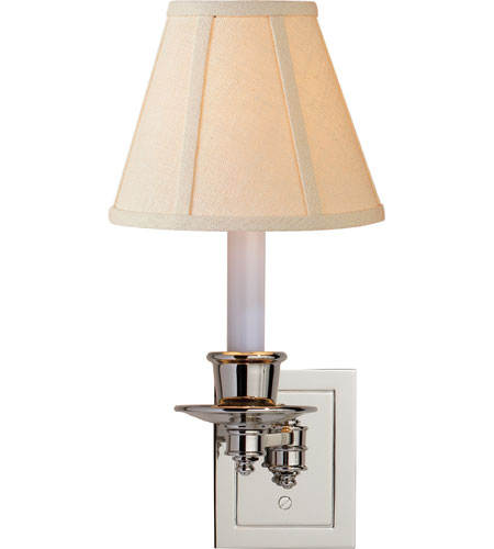 Visual Comfort S2005PN-L Studio 7 inch 40 watt Polished Nickel Swing-Arm Wall Light in Linen photo