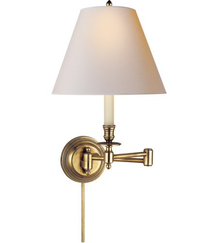 Visual Comfort S2010HAB-NP Studio Candle Stick 19 inch 60 watt Hand-Rubbed Antique Brass Swing-Arm Wall Light in Natural Paper photo
