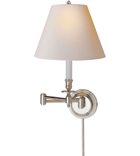 Visual Comfort Studio Candlestick 1 Light Swing-Arm Wall Light in Polished Nickel S2010PN-NP photo
