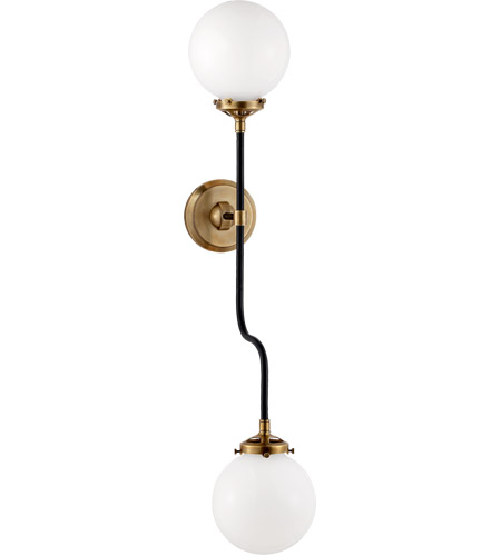 Visual Comfort S2022HAB-WG Ian K. Fowler Bistro 2 Light 6 inch Hand-Rubbed Antique Brass Decorative Wall Light in White Glass photo