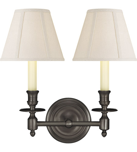 Visual Comfort S2112BZ-L Studio French Library 2 Light 13 inch Bronze Decorative Wall Light in Linen photo