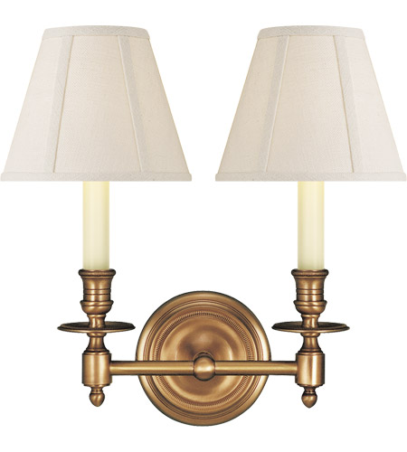 Visual Comfort S2112HAB-L Studio French Library 2 Light 13 inch Hand-Rubbed Antique Brass Decorative Wall Light in Linen photo