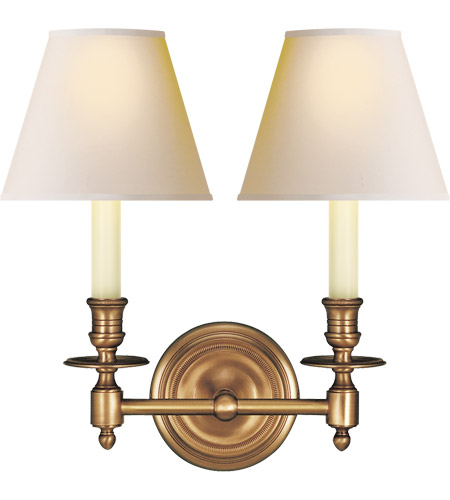 Visual Comfort S2112HAB-NP Studio French Library 2 Light 13 inch Hand-Rubbed Antique Brass Decorative Wall Light in Natural Paper photo