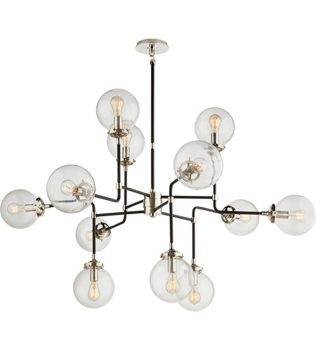 Visual Comfort S5022PN-CG Ian K. Fowler Bistro 12 Light 47 inch Polished Nickel Chandelier Ceiling Light in Clear Glass photo