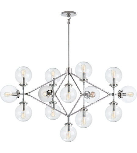 Visual Comfort S5024PN-CG Ian K. Fowler Bistro 14 Light 53 inch Polished Nickel Chandelier Ceiling Light in Clear Glass photo