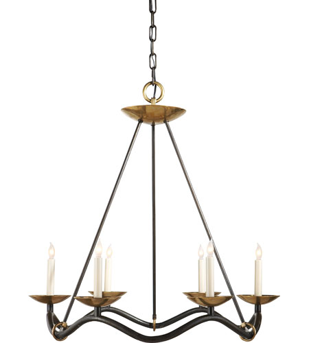 Visual Comfort S5040AI Barry Goralnick Choros 6 Light 29 inch Aged Iron with Hand-Rubbed Antique Brass Accents Chandelier Ceiling Light in Aged Iron with Wax photo