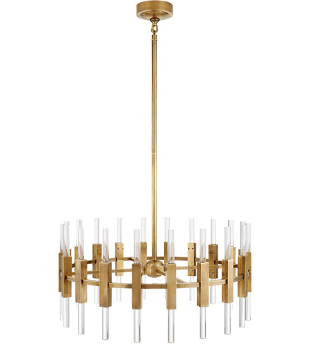 Visual Comfort S5143HAB-CA Ian K. Fowler Palomar LED 34 inch Hand-Rubbed Antique Brass Rotating Chandelier Ceiling Light, Small photo