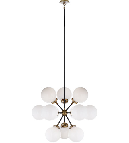 Visual Comfort S5270HAB/BLK-WG Ian K. Fowler Bistro 12 Light 23 inch Hand-Rubbed Antique Brass Pendant Ceiling Light, Ian K. Fowler, Small, Round, White Glass photo