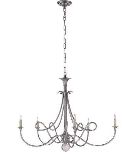 Visual Comfort SC5005AS Eric Cohler Double Twist 5 Light 36 inch Antique  Silver Chandelier Ceiling Light - Visual Comfort SC5005AS Eric Cohler Double Twist 5 Light 36 Inch