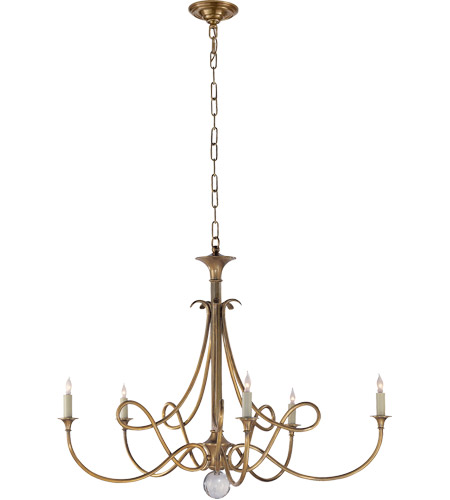 Visual Comfort Studio Twist 5 Light Chandelier in Hand-Rubbed Antique Brass SC5005HAB photo