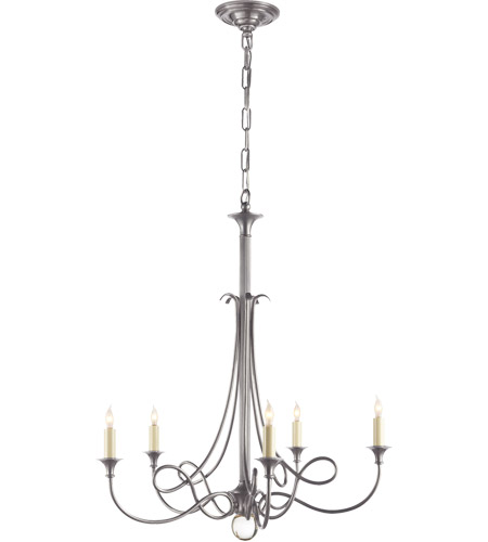 Visual Comfort SC5015AS Eric Cohler Twist 5 Light 26 inch Antique Silver Chandelier Ceiling Light photo