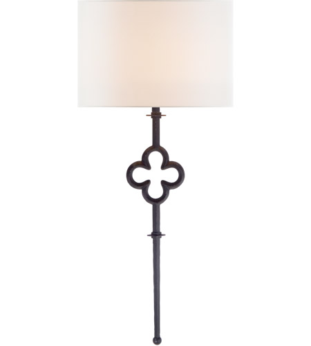 Visual Comfort SK2501AI-L Suzanne Kasler Quatrefoil 1 Light 15 inch Aged Iron Sconce Wall Light, Suzanne Kasler, Tail, Linen Shade photo