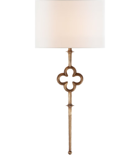 Visual Comfort SK2501GI-L Suzanne Kasler Quatrefoil 1 Light 15 inch Gilded Iron Sconce Wall Light, Suzanne Kasler, Tail, Linen Shade photo