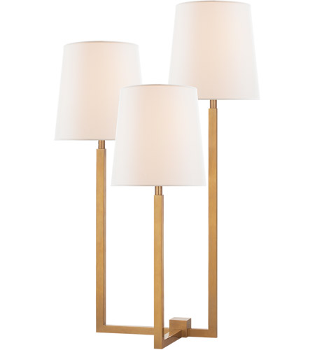 Visual Comfort SK3030HAB-L Suzanne Kasler Margot 24 inch 40 watt Hand-Rubbed Antique Brass Triple Arm Table Lamp Portable Light, Medium photo
