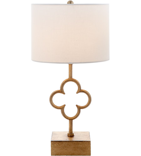 Visual Comfort SK3549GI-L Suzanne Kasler Quatrefoil 19 inch 60 watt Gilded Iron Accent Table Lamp Portable Light, Suzanne Kasler, Linen Shade photo