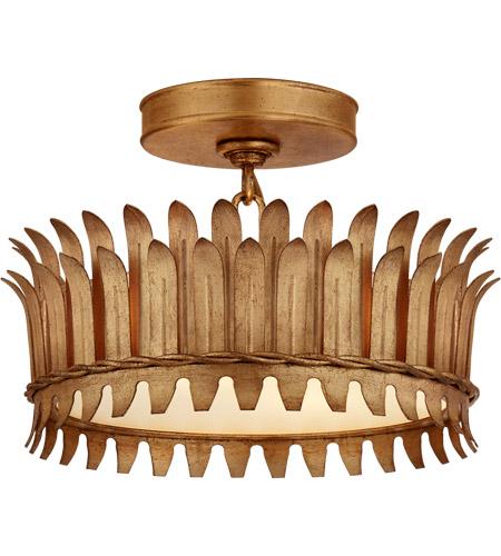 Visual Comfort Sk4205gi Suzanne Kasler Leslie Led 12 Inch Gilded Iron Semi Flush Mount Ceiling Light