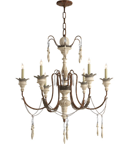 Visual Comfort Suzanne Kasler Percival 6 Light Chandelier in Natural Rust with Old White SK5000NR/OW photo