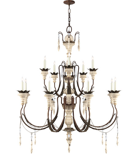 Visual Comfort SK5002NR/OW Suzanne Kasler Percival 13 Light 38 inch Natural Rust with Old White Chandelier Ceiling Light photo