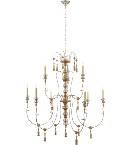 Visual Comfort SK5003FG Suzanne Kasler Michele 9 Light 46 inch French Gild Silver and Gold Chandelier Ceiling Light photo