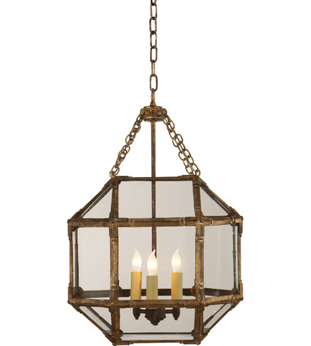 Visual Comfort SK5008GI-CG Suzanne Kasler Morris 3 Light 14 inch Gilded Iron with Wax Foyer Pendant Ceiling Light in Clear Glass photo