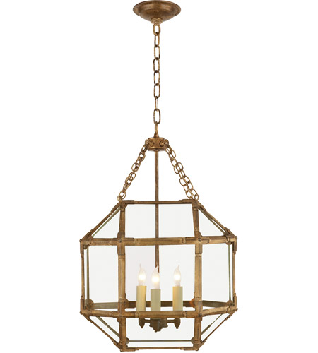 Visual Comfort SK5008GI-CG Suzanne Kasler Morris 3 Light 14 inch Gilded Iron Foyer Pendant Ceiling Light in Clear Glass photo
