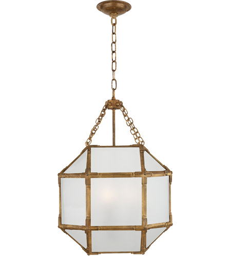 Visual Comfort SK5008GI-FG Suzanne Kasler Morris 3 Light 14 inch Gilded Iron Foyer Pendant Ceiling Light in Frosted Glass photo