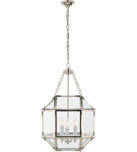 Visual Comfort Sk5008pn Cg Suzanne Kasler Morris 3 Light 14 Inch Polished Nickel Foyer Pendant Ceiling In Clear Gl