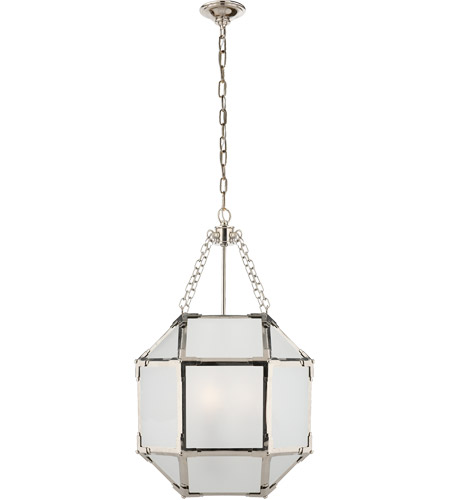 Visual Comfort SK5008PN-FG Suzanne Kasler Morris 3 Light 14 inch Polished Nickel Foyer Pendant Ceiling Light in Frosted Glass photo