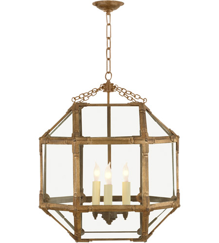Visual Comfort SK5009GI-CG Suzanne Kasler Morris 3 Light 19 inch Gilded Iron Foyer Pendant Ceiling Light in Clear Glass photo