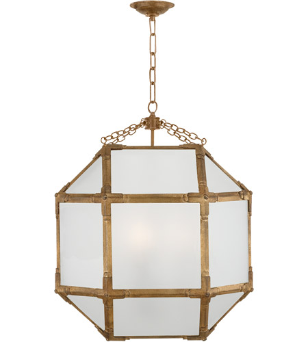 Visual Comfort SK5009GI-FG Suzanne Kasler Morris 3 Light 19 inch Gilded Iron Foyer Pendant Ceiling Light in Frosted Glass photo