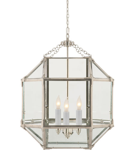 Visual Comfort SK5009PN-CG Suzanne Kasler Morris 3 Light 19 inch Polished Nickel Foyer Pendant Ceiling Light in Clear Glass photo